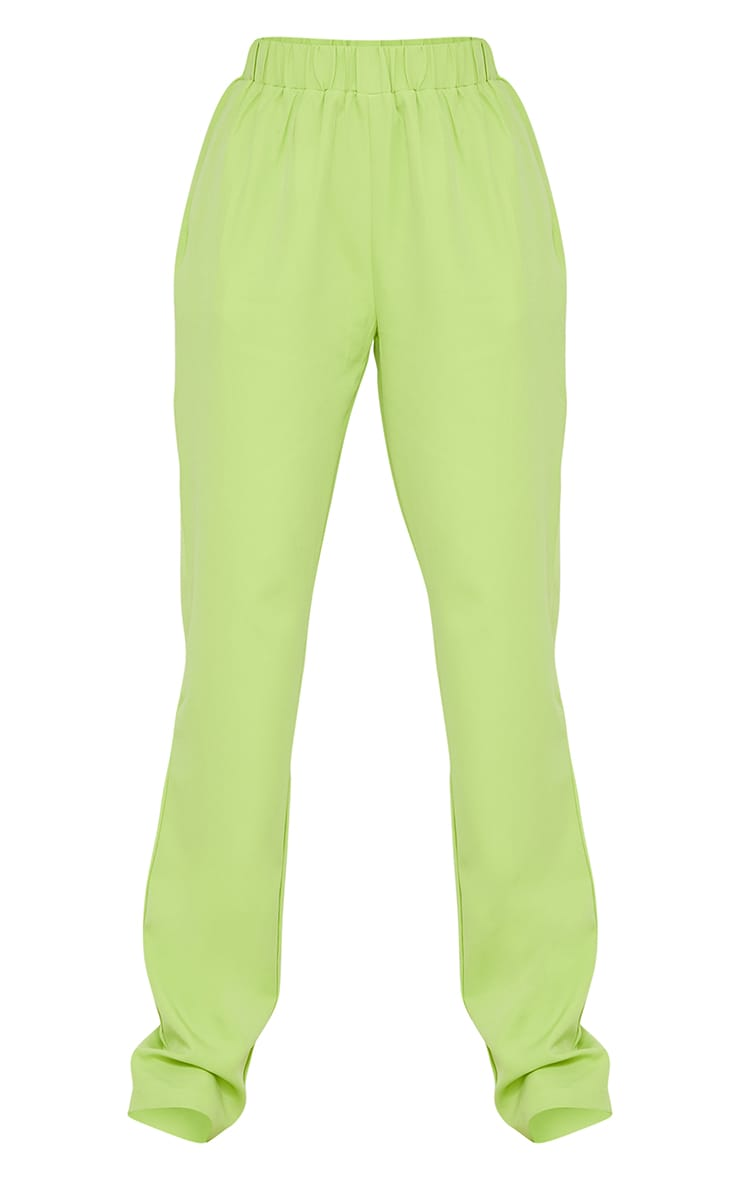 Tall Lime Elasticated Waistband Wide Leg Pants 5