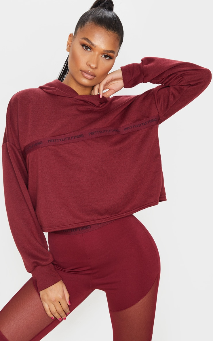 PRETTYLITTLETHING Berry Sport Cropped Hoodie 1