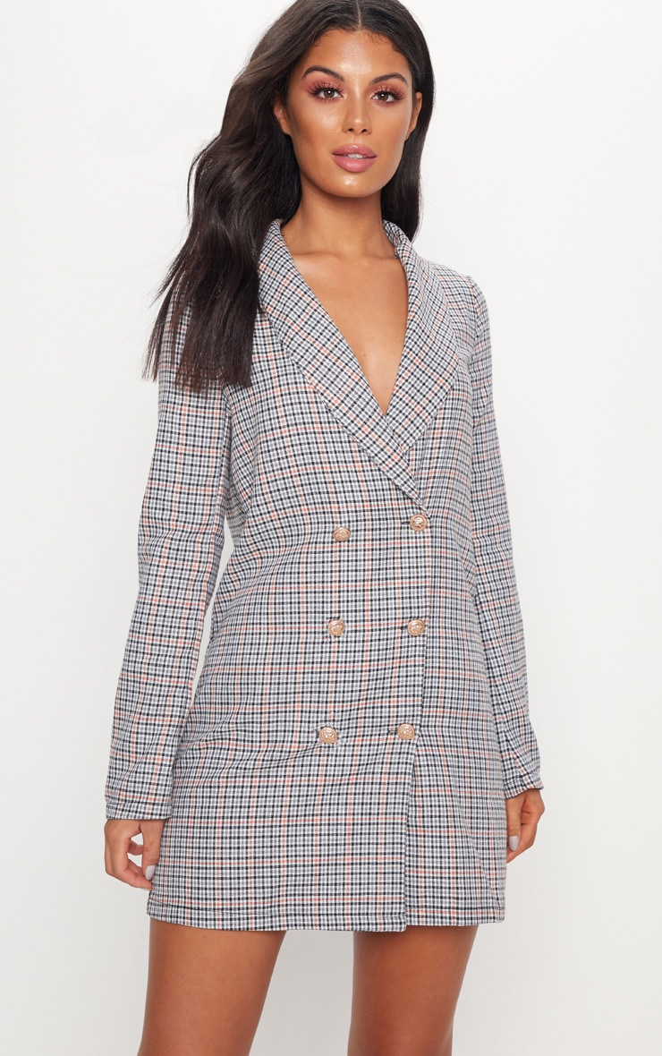Grey Dogtooth Gold Button Blazer Dress 1