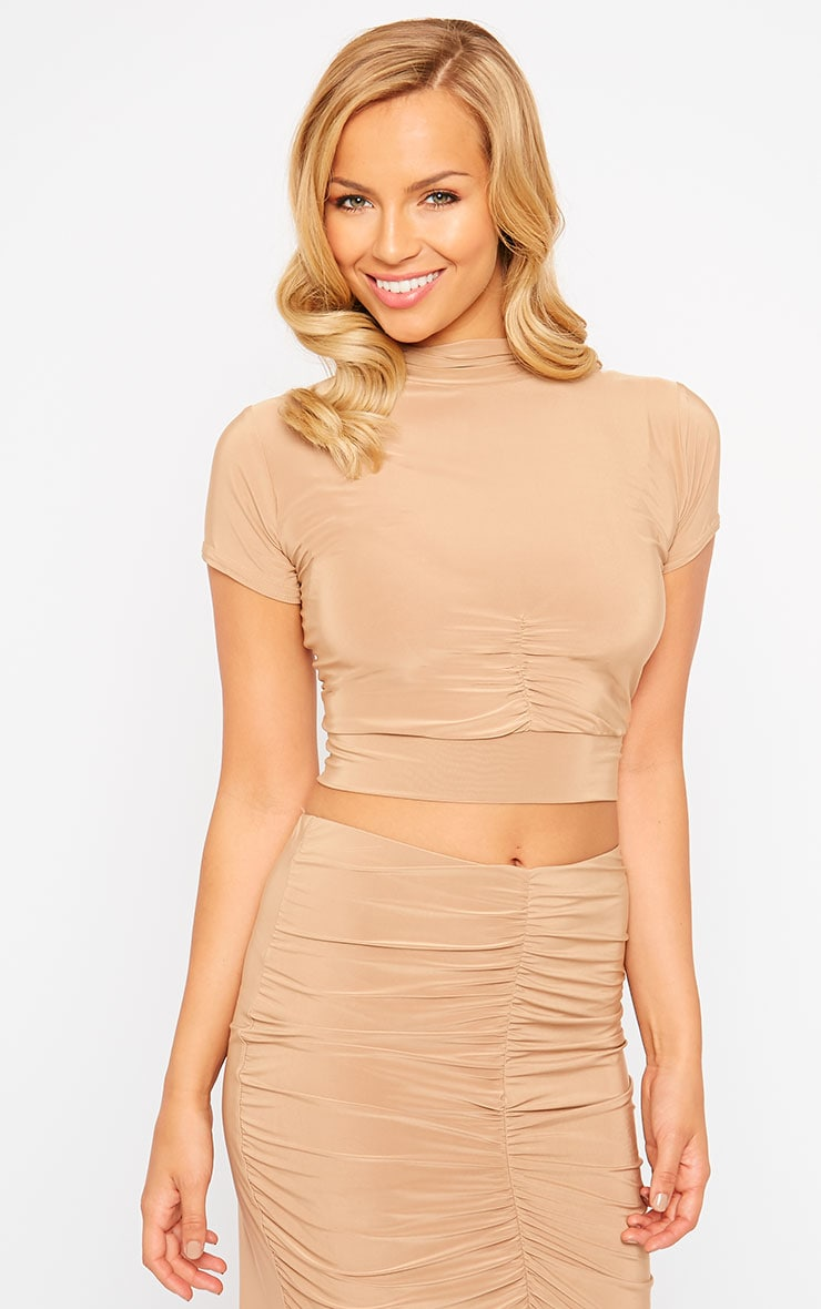 Gina Camel Slinky Ruched Detail Crop Top 4