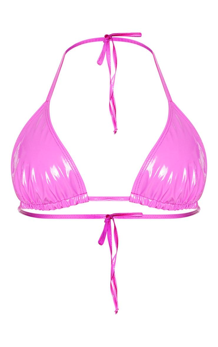 Fuchsia Vinyl Adjustable Triangle Bikini Top 5