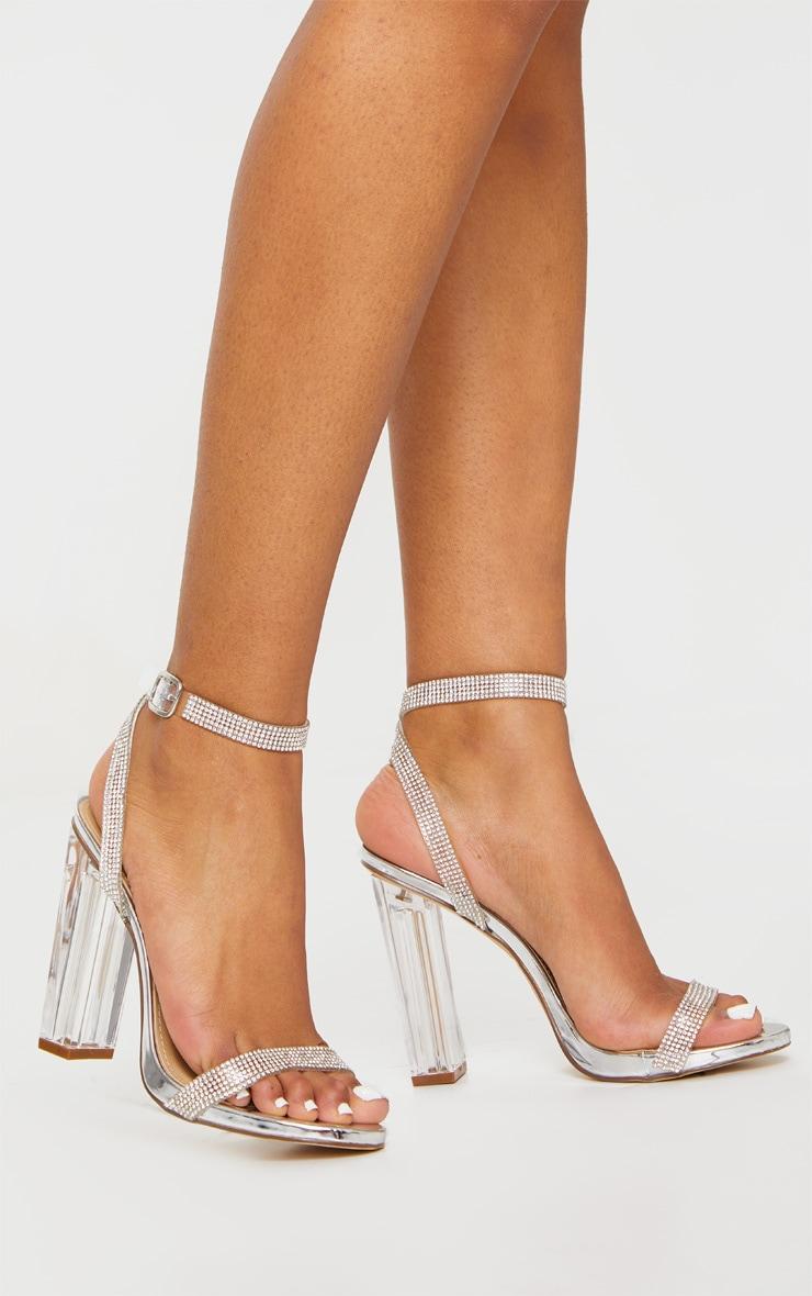 Silver Diamante Strap Clear Block Heel 3