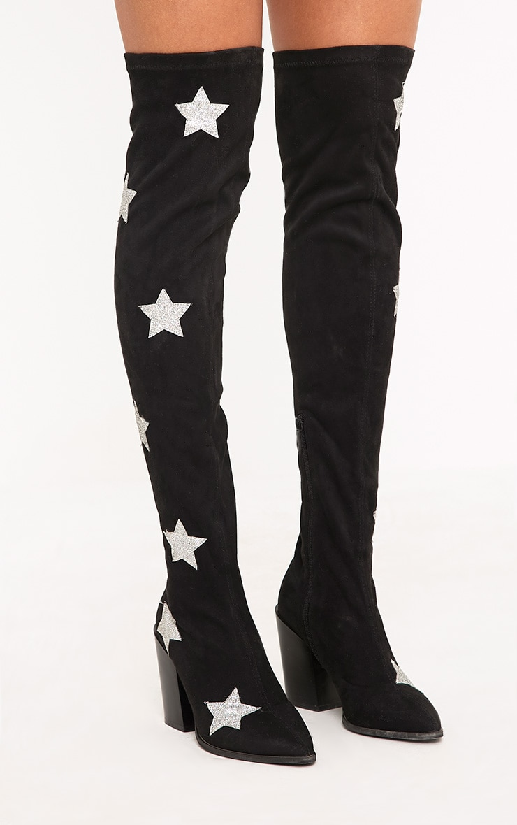 Ayesha Black Faux Suede Star Thigh High Western Boots 3