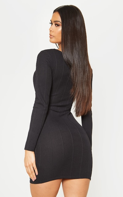 Black Bandage Rib Long Sleeve Cut Out Detail Bodycon Dress