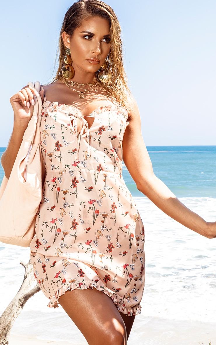 Peach Garden Print Chiffon Mini Beach Dress 1