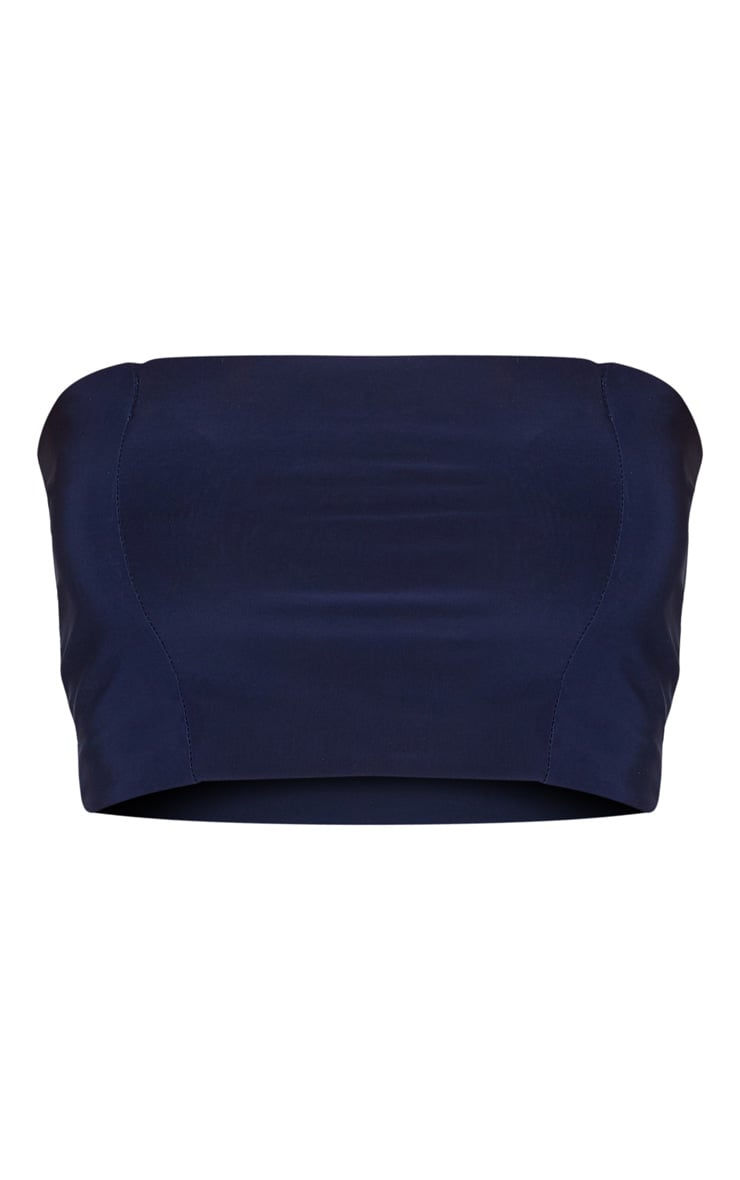 Helsa Navy Slinky Bandeau Crop Top 3