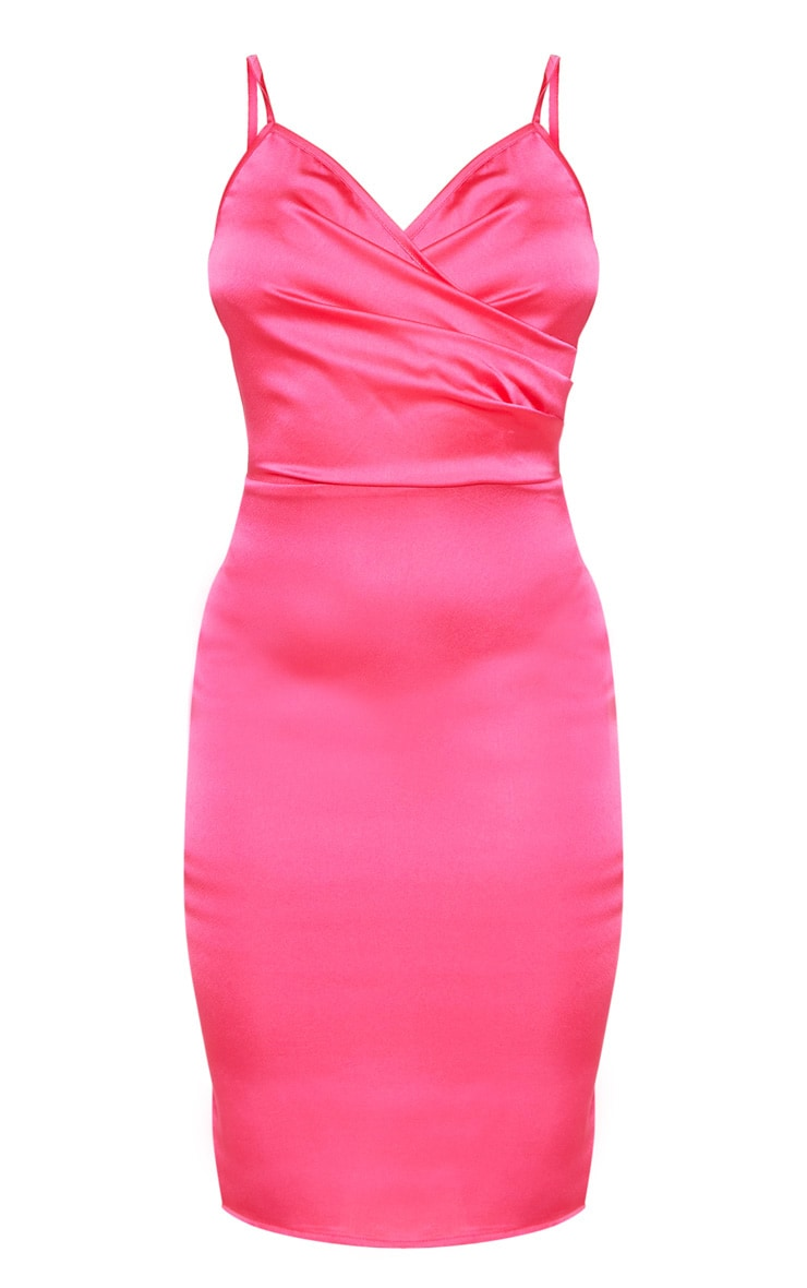 Petite Hot Pink Satin Strappy Midi Dress 3