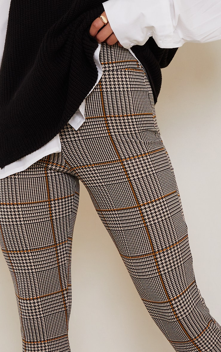 Brown Dog Tooth Check Skinny Trousers 4
