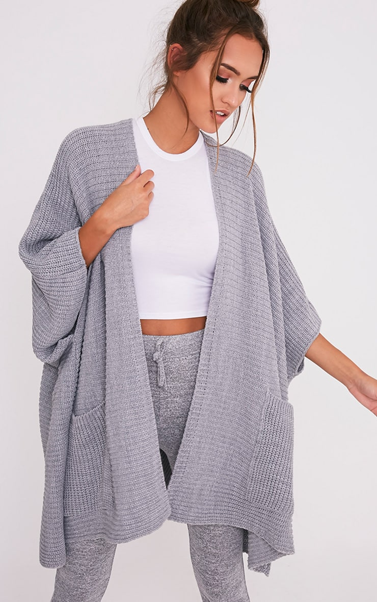 Grey Chunky Knit 3/4 sleeve Wrap Cardigan 1