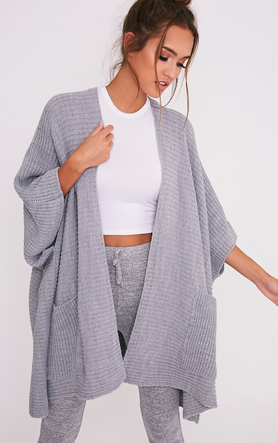 71cddaa7b20 Grey Chunky Knit 3 4 sleeve Wrap Cardigan