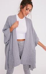 Yazmine Grey Chunky Knit 3/4 sleeve Wrap Cardigan 1