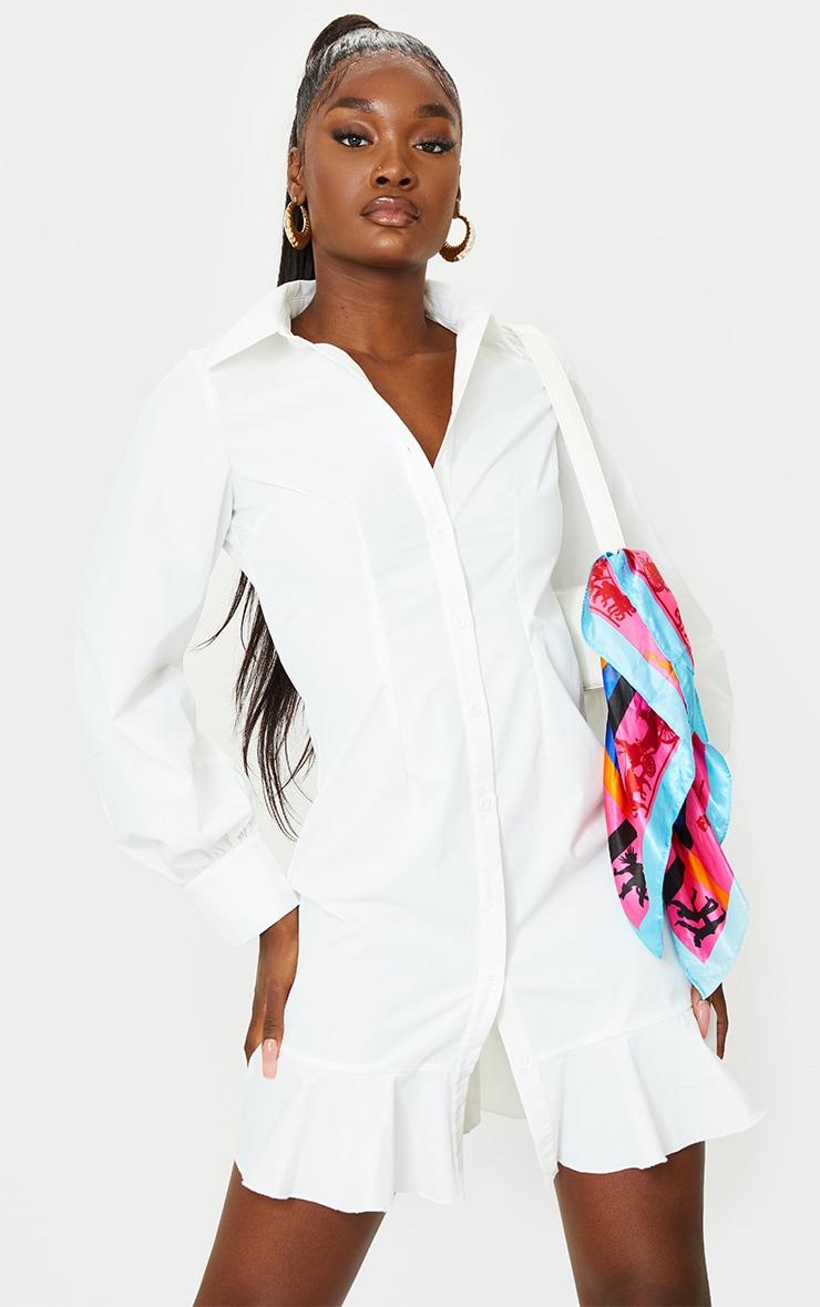Tall White Frill Detail Shirt Dress 1