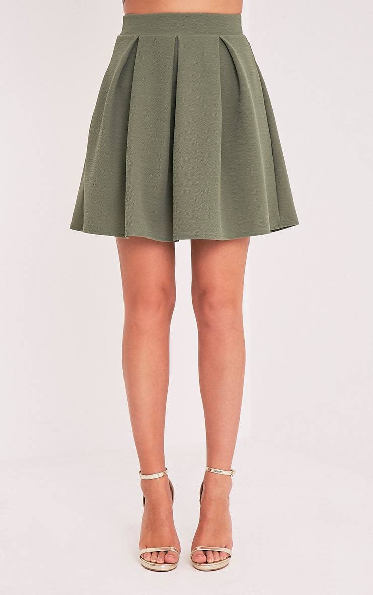 Tyra Khaki Box Pleat Full Mini Skirt 2
