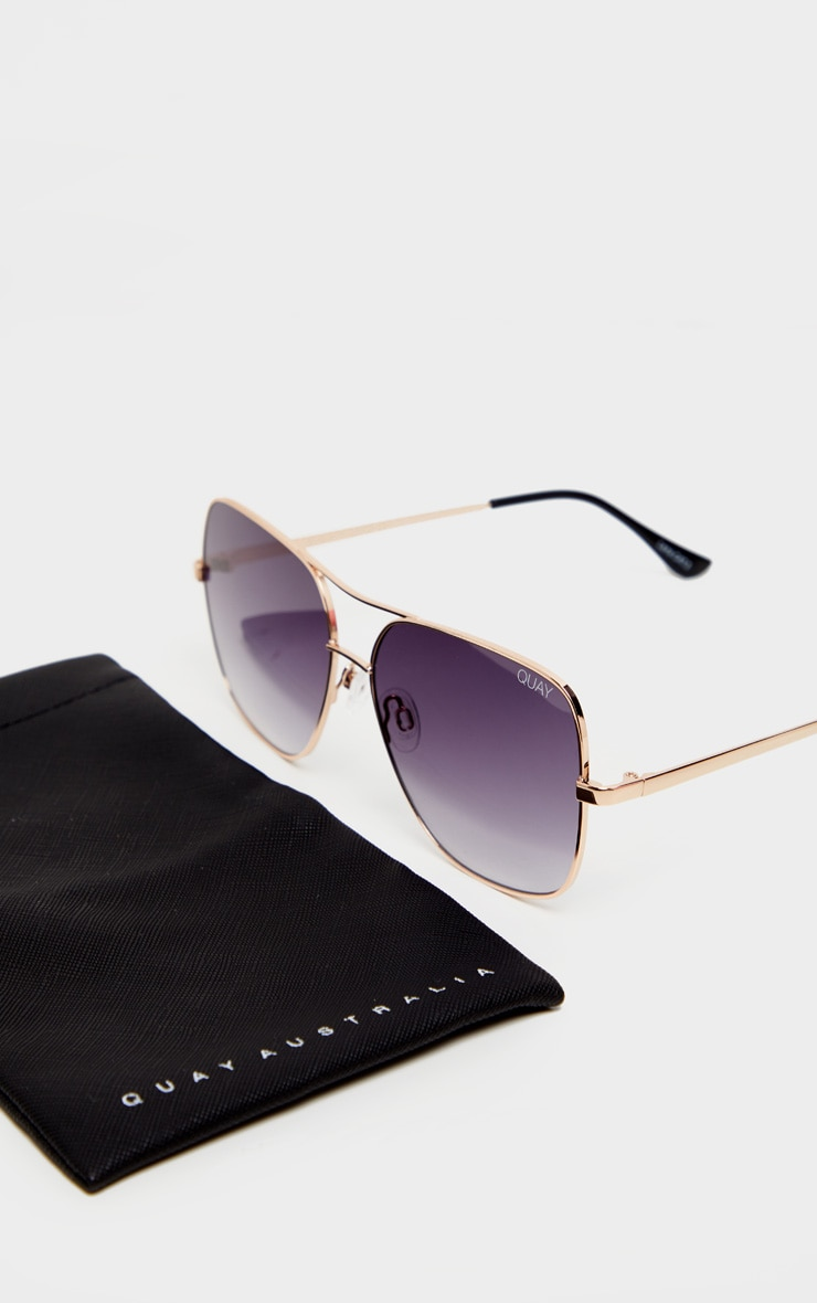 Quay X Chrissy Gold Frame Double Bar Stop And Stare Sunglasses 2