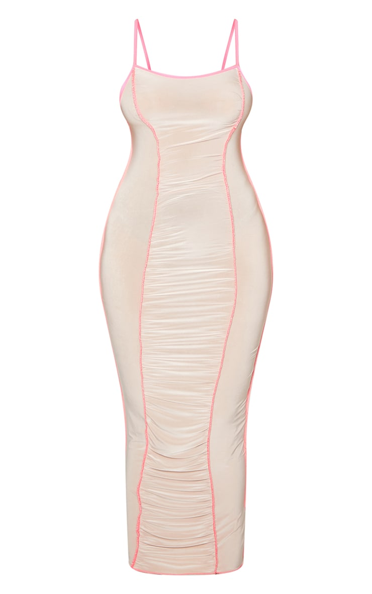 Nude Slinky Ruched Front Overlock Seam Midaxi Dress 5