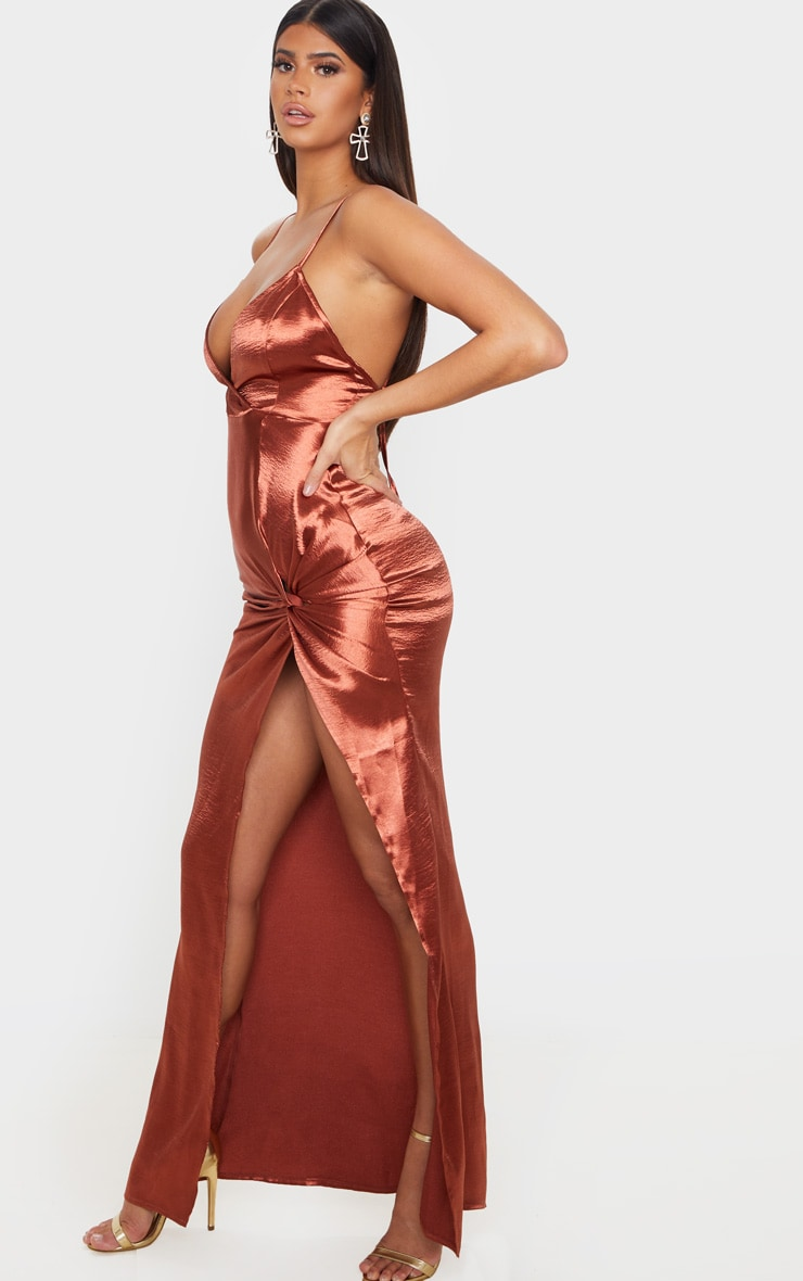 Copper Satin Twist Detail Split Front Maxi Dress 3