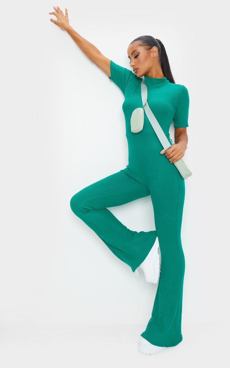 Emerald Green Brushed Rib High Neck Flared Jumpsuit 3