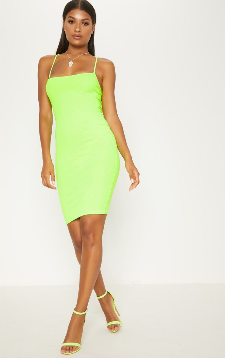 Neon Green Strappy Ribbed Midi Dress 4