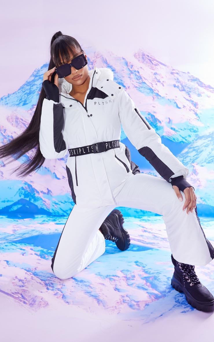 PRETTYLITTLETHING Ski Mono Faux Fur Hooded Belted Ski Jacket 3