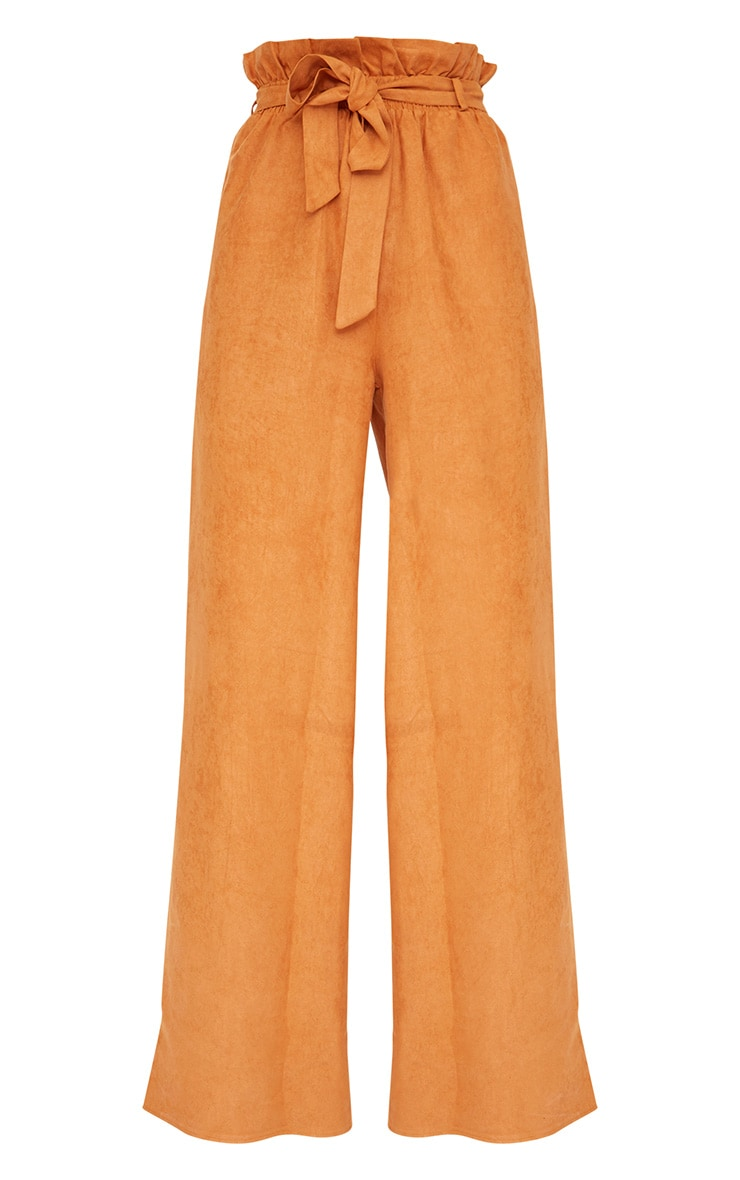 Tan Faux Suede Paperbag Wide Leg Trousers 3