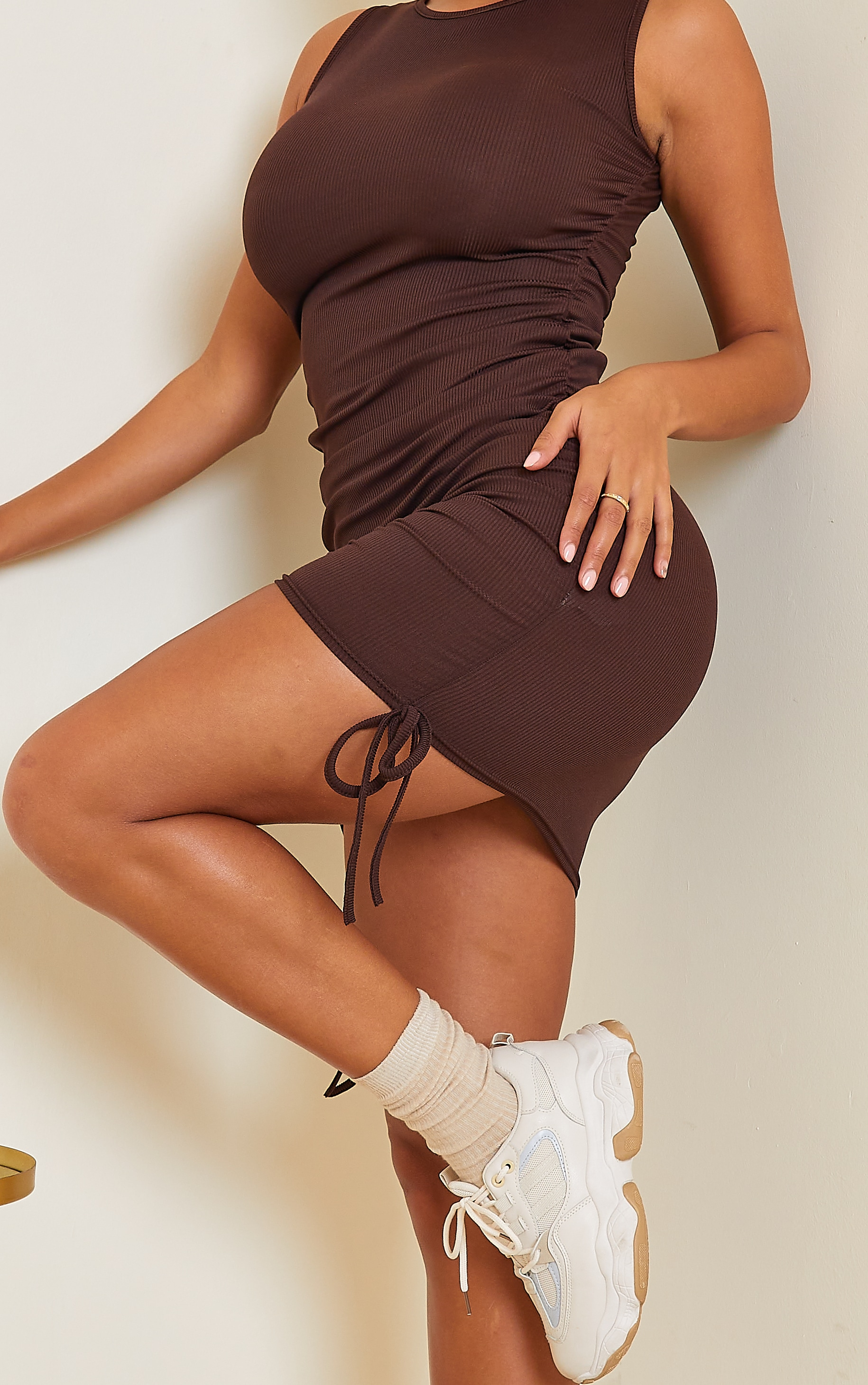 Shape Chocolate Brown Rib Ruched Side Sleeveless Bodycon Dress 4