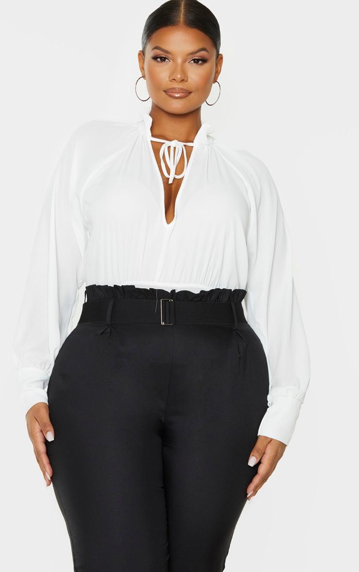 Plus White Sheer Loose Tie Bodysuit 5