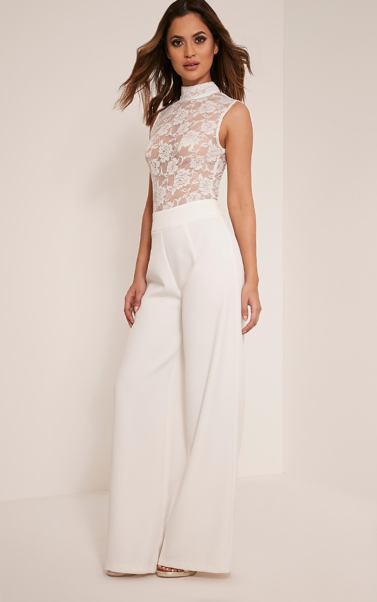 Miley White Sleeveless Lace Top Jumpsuit 1