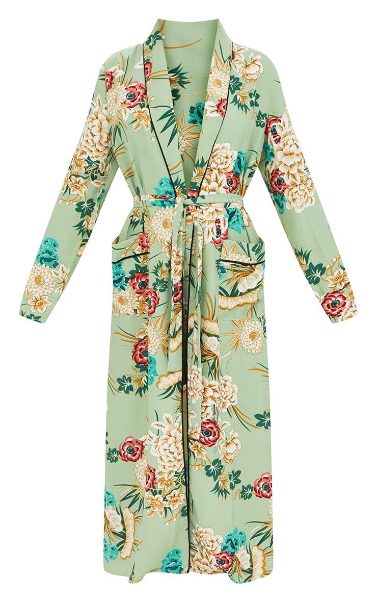Sage Green Floral Maxi Kimono 3