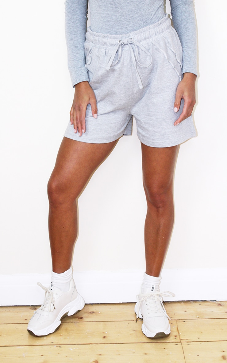 Petite Grey Frill Sweat Detail Short 2