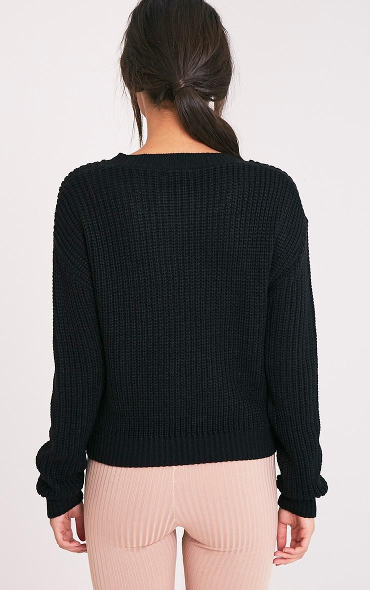 Cara Black Knitted Crop Jumper 2