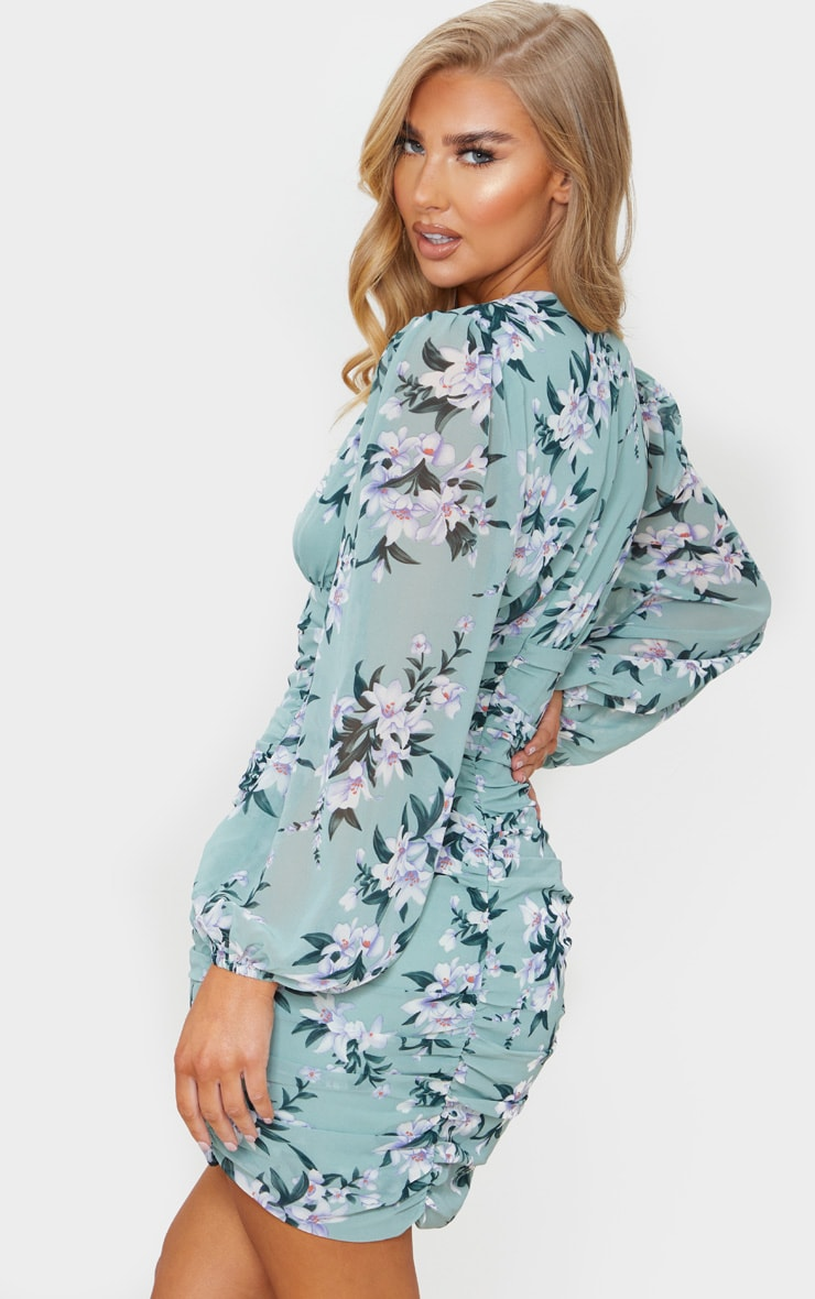 Sage Green Floral Print Chiffon Ruched Long Sleeve Midi Dress 3