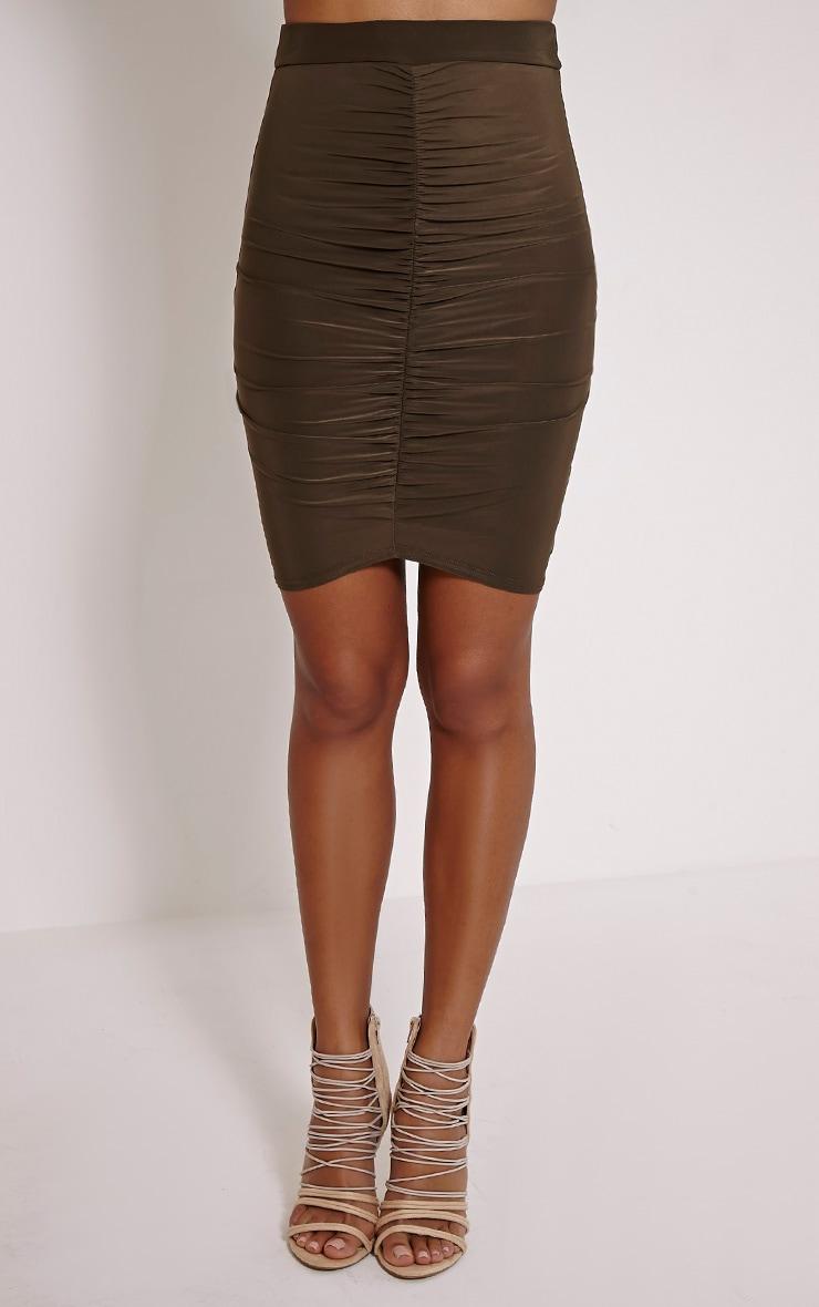 Darcia Khaki Ruched Front Midi Skirt 2