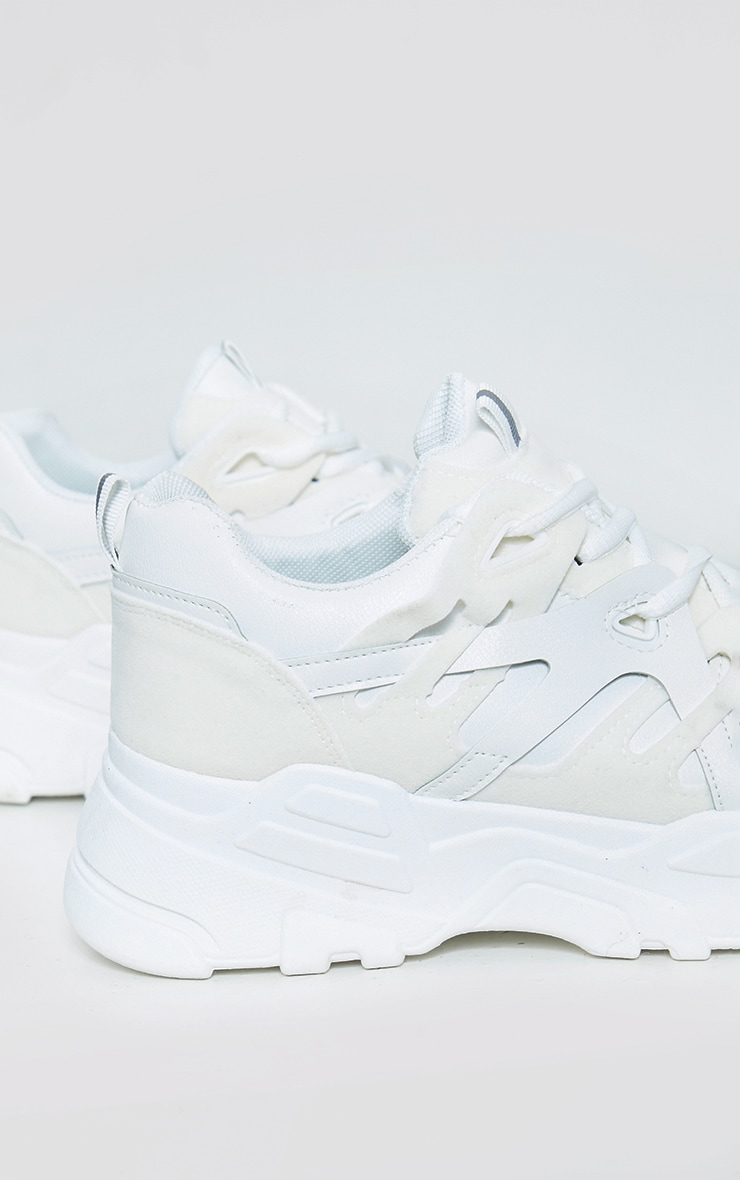 White Chunky Panelled Trainers 4
