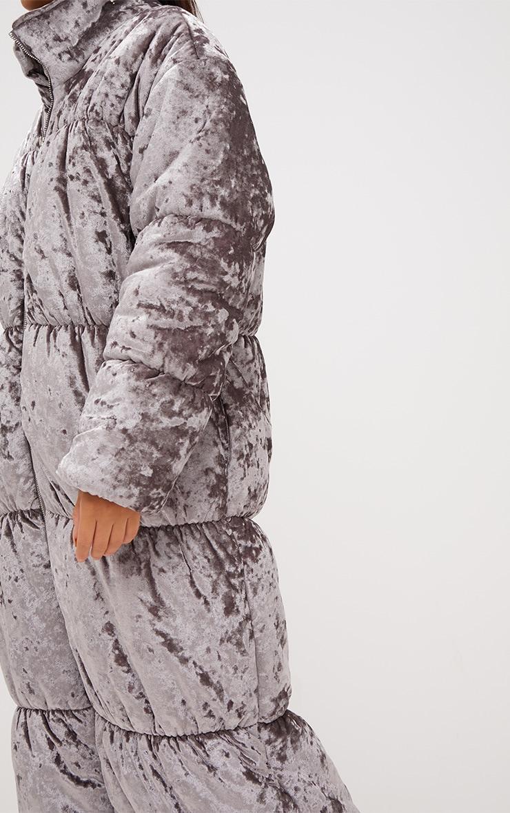 Grey Velvet Longline Puffer Coat 6