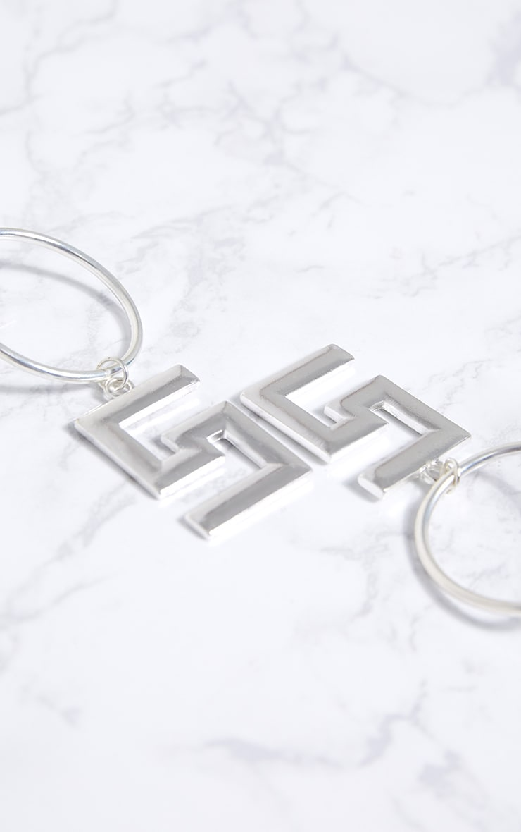 Silver Greek Key Drop Hoop Earrings 4