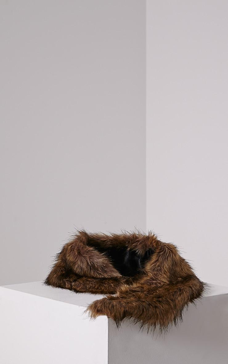 Kira Brown Faux Fur Collar 2