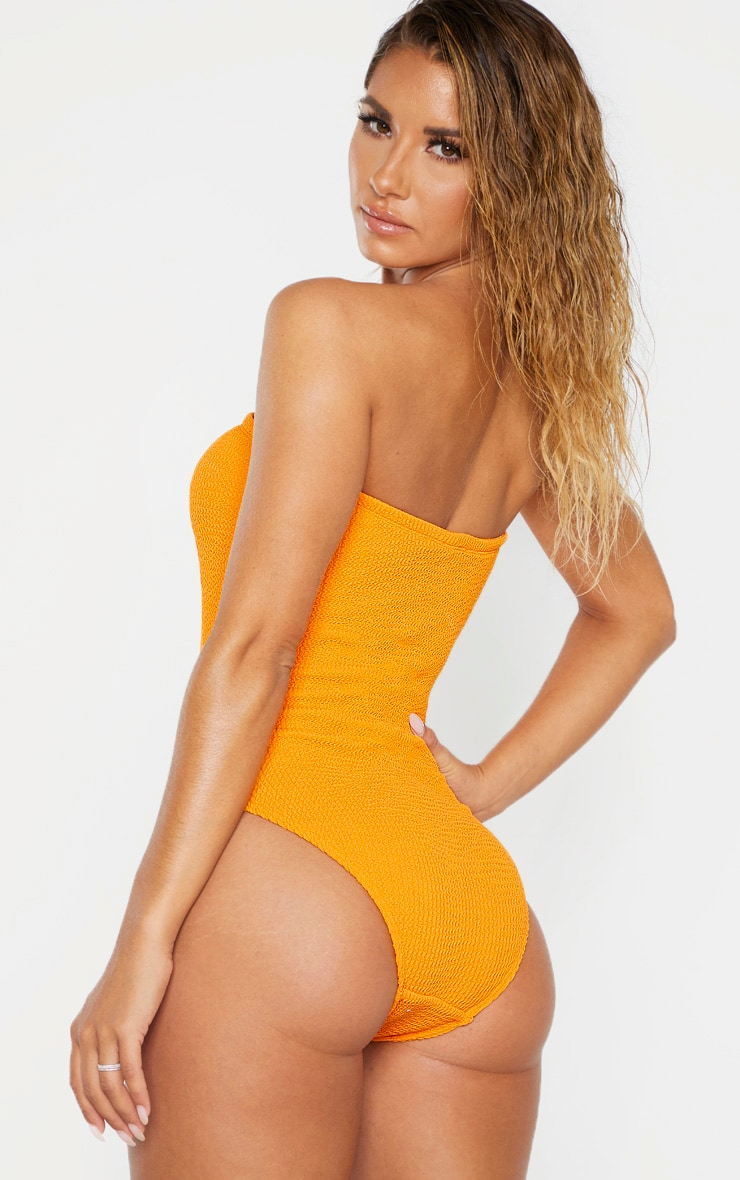 Orange Crinkle Strapless Swimsuit 2
