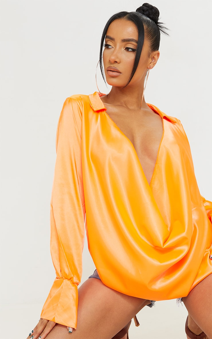 Hot Orange Extreme Cowl Long Line Satin Shirt 4