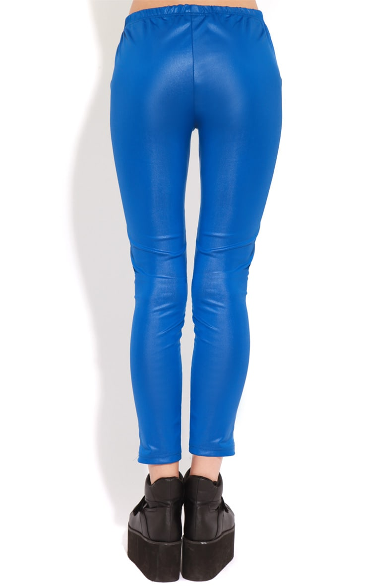 Evie Electric Blue Leather Panel Leggings 2