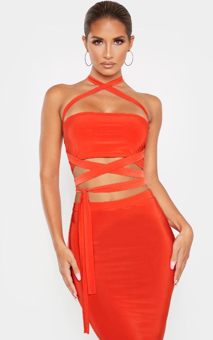 Bright Orange Slinky Tie Detail Bandeau Top 6