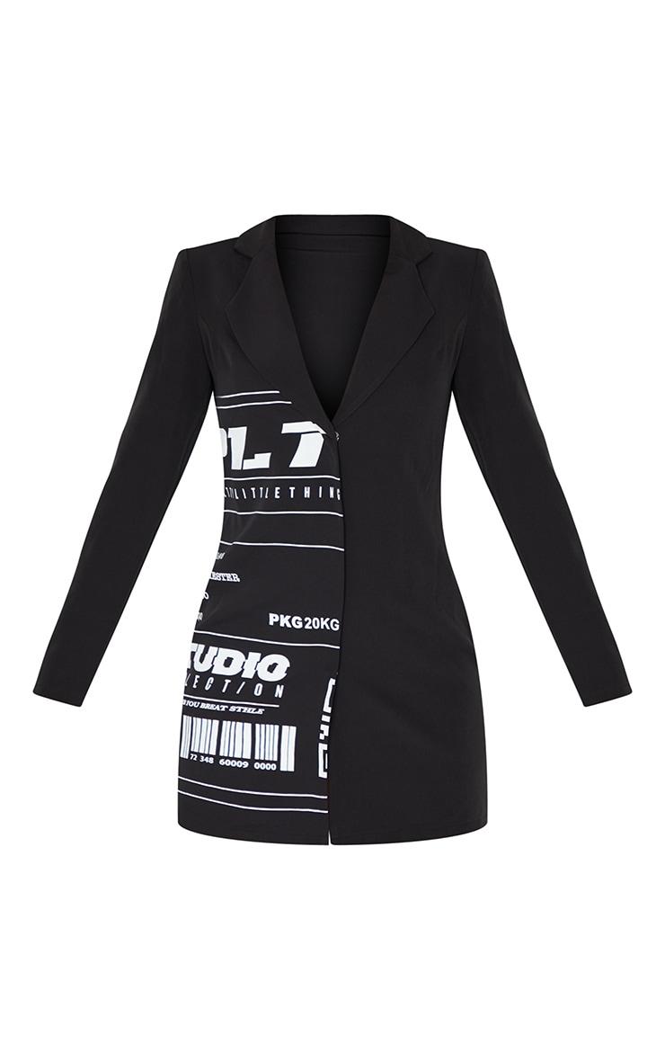 PRETTYLITTLETHING Black Slogan Blazer Dress 4