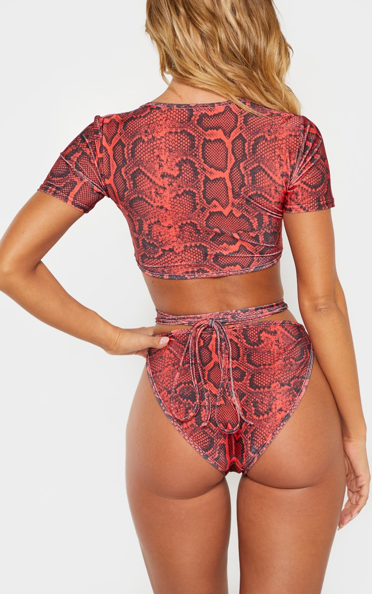 Red Snake Print High Cut Bikini Bottom 6
