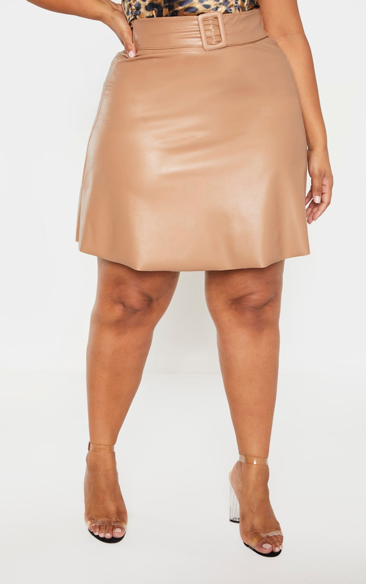 Plus Taupe Faux Leather Belted Skater Skirt  2