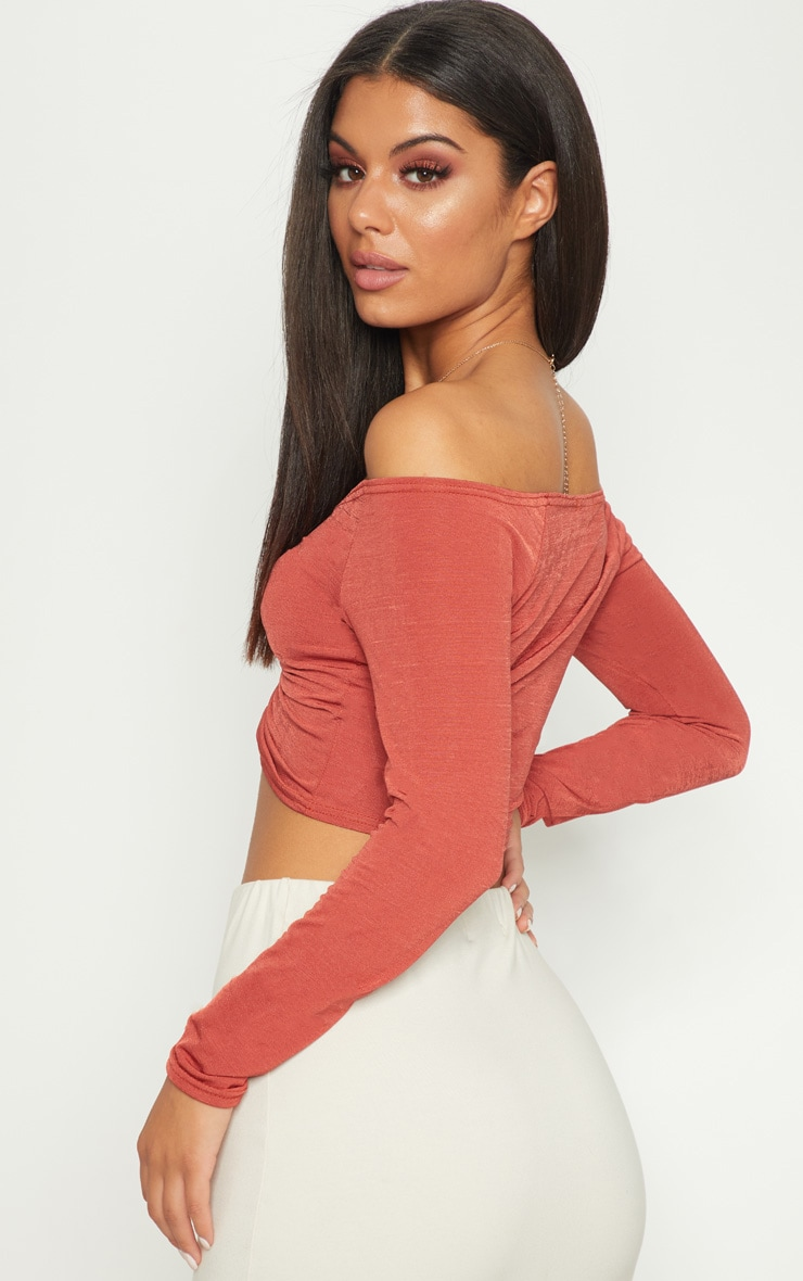 Spice Slinky Ruched Front Long Sleeve Crop Top 2