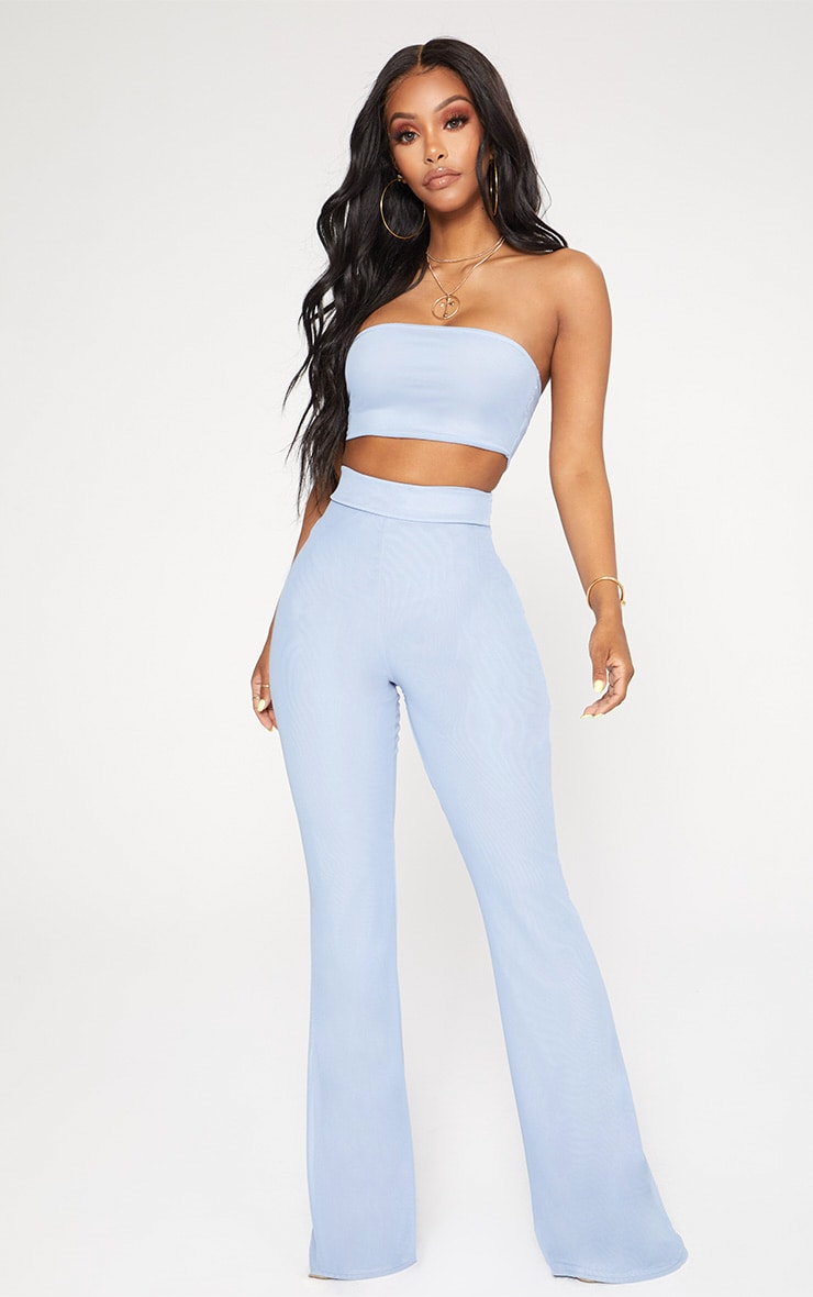 Shape Light Blue Mesh Bandeau Crop Top 4