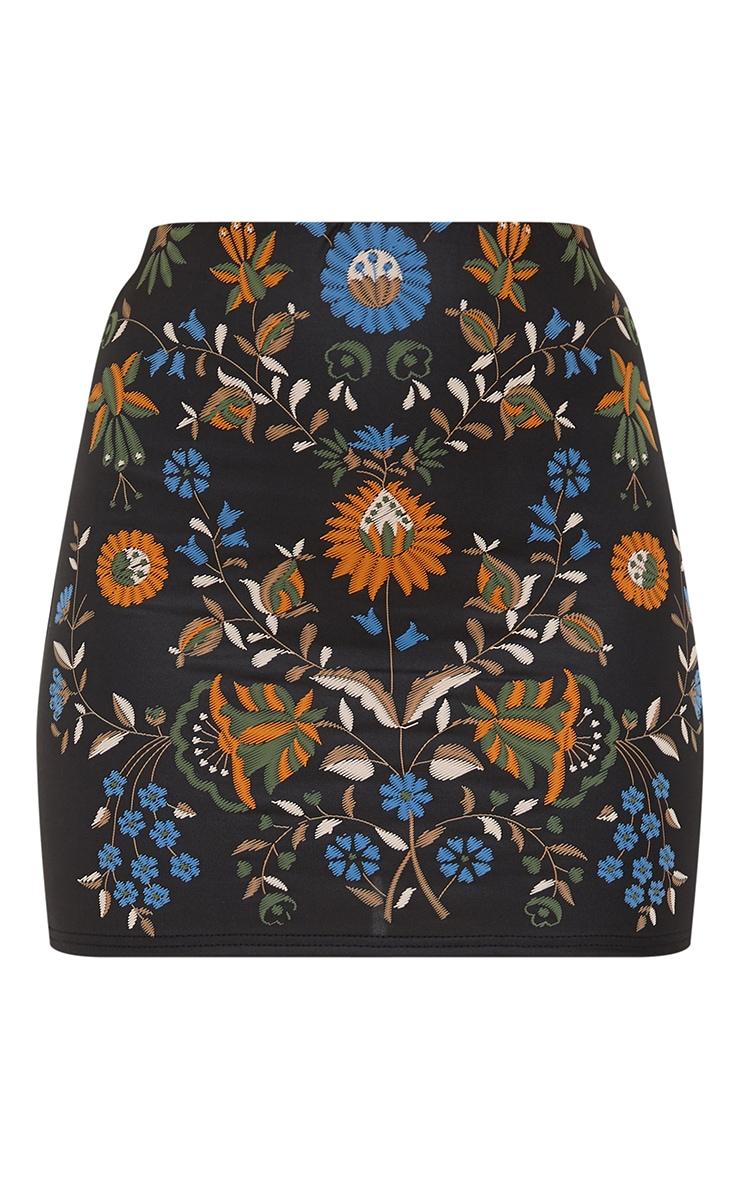 Black PU Floral Embroidery Print Mini Skirt 3