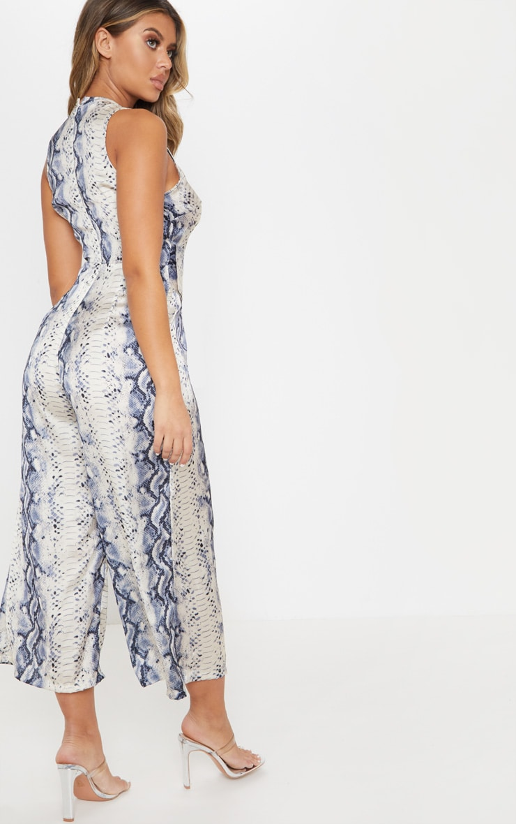 Grey Satin Snake Print Belt Culotte Jumpsuit 2