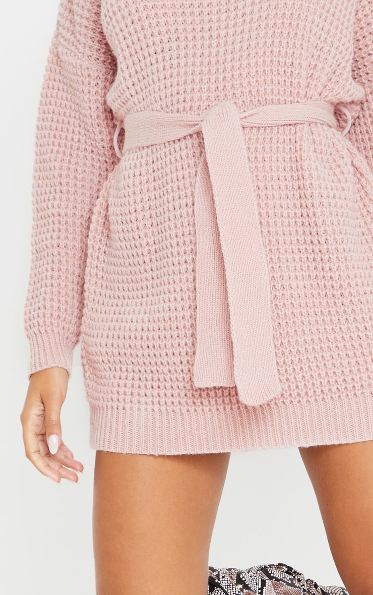 Pale Pink Soft Touch Belted Knitted Sweater Dress 5