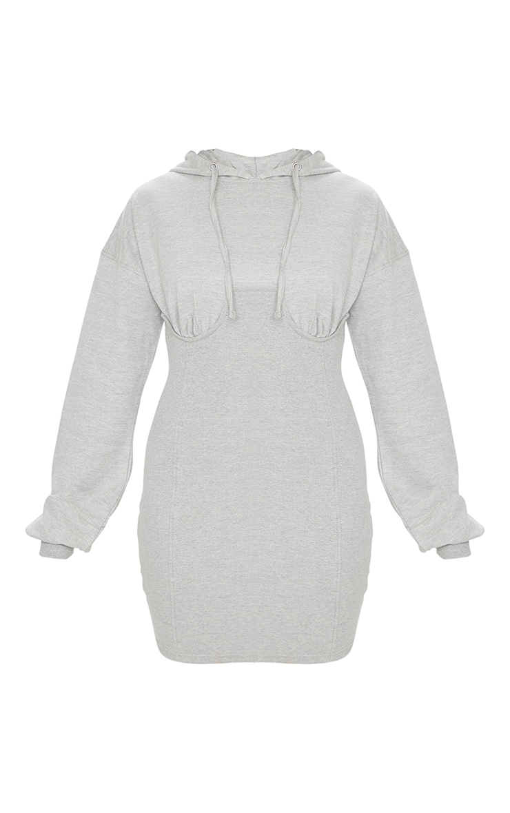 Grey Ribbed Sweat Contrast Cup Detail Jumper Dress 5