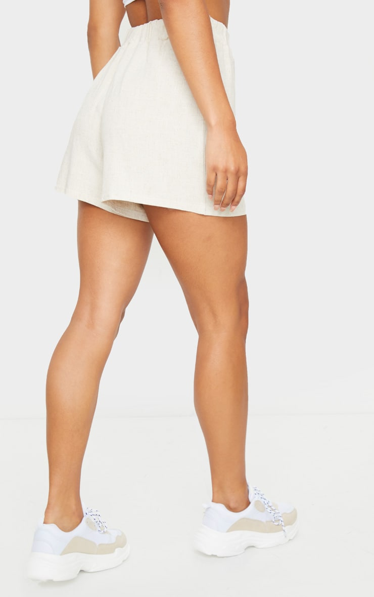 Stone Linen Feel High Waist Shorts 3